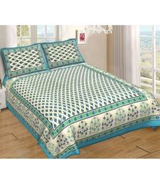 Ashnit 220 TC Cotton Double Jaipuri Print Bedsheet (Pack of 1, Blue)