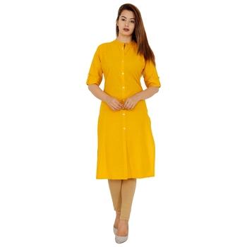 Mustard plain cotton kurtas-and-kurtis