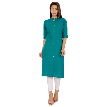 Teal plain cotton kurtas-and-kurtis