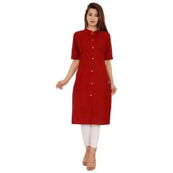 Maroon plain cotton kurtas-and-kurtis