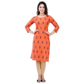 Orange plain cotton kurtas-and-kurtis