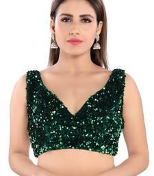 Salwar Studio Women's Green Velvet Readymade Saree Blouse