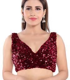 Salwar Studio Women's Maroon Velvet Readymade Saree Blouse