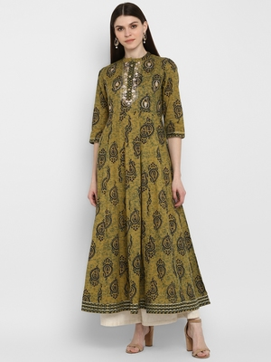 kalamkari print & embroidered Anarkali Cotton Olive Green Kurta