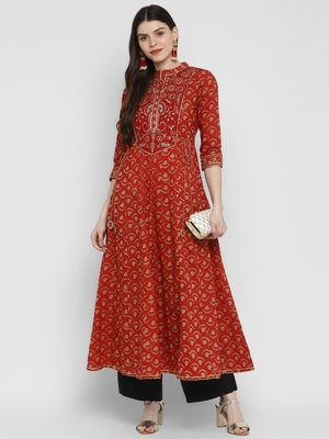 Embroidered & Printed Anarkali Cotton Red Kurta