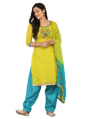 Shaily Pink Color Cotton Blend Embroidered Unstitched Dress Material