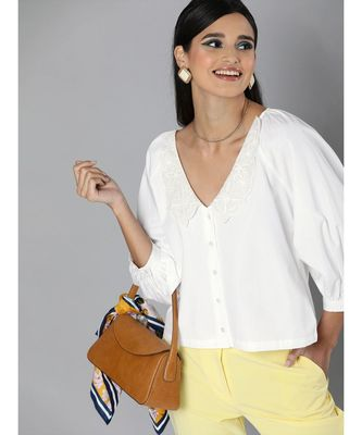White Embroidered Collar Top