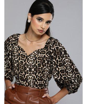 Black Cheetah Puff Sleeve Crop Top