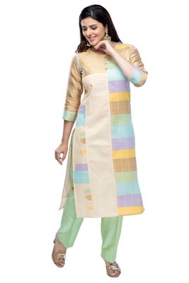 Green chanderi 3/4th sleeves solid women kurta with pant