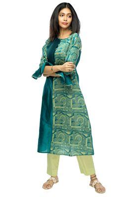 Green chanderi 3/4th sleeves solid women kurta set