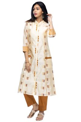 Mustard chanderi 3/4th sleeves solid women kurta set