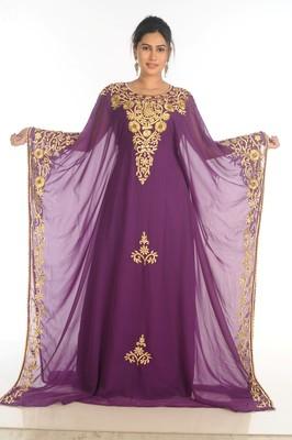 SALE !! Elegant Moroccan Islamic Party Wear Kaftan Purple Beach Fancy Modern Floor Length Bell Sleeve For Women Dress