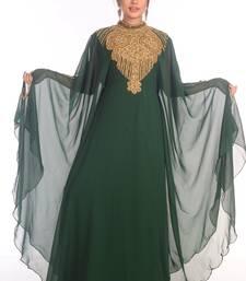 Ethnic Maxi Abaya Moroccan Islamic Bottle Green Kaftan Beach Fancy Modern Floor Length Bell Sleeve For Women Dress