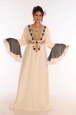 Exclusive Maxi Abaya Moroccan Islamic Kaftan Beach Fancy Modern Floor Length Bell Sleeve For Women Dress