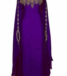 Ethnic Maxi Abaya Moroccan Islamic Modern Color Machine Work Kaftan Beach Fancy Modern Floor Length Bell Sleeve