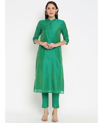 Desi Weavess Green Solid kurta with Trouser