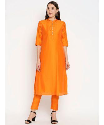 Desi Weavess Orange Solid Kurta with Trouser