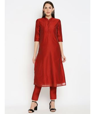 Desi Weavess Red Solid Kurta with Trouser