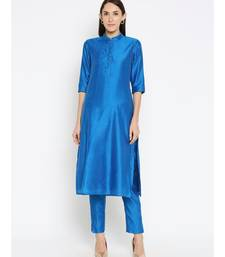 Desi Weavess Royal Blue Solid Kurta with Trouser