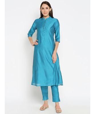 Desi Weavess Lightl Blue Solid Kurta with Trouser
