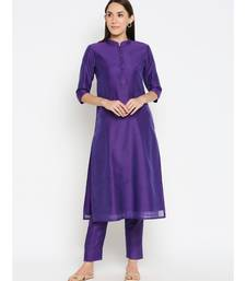 Desi Weavess Purple Solid Kurta with Trouser