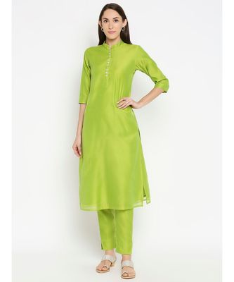 Desi Weavess Lime Green Solid Kurta with Trouser