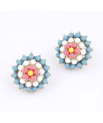 Tanzanite Blue Sunflower Stud Earrings