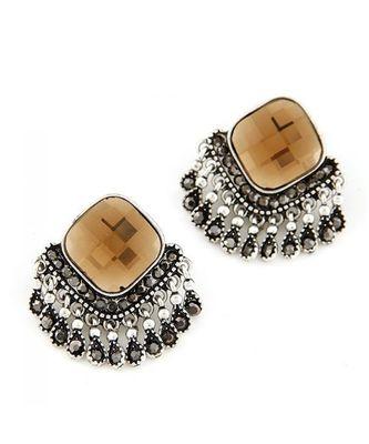 Champagne Tassel Stud Earrings