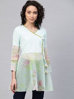 Green printed crepe party-tops