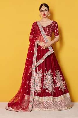Maroon embroidered velvet semi stitched lehenga