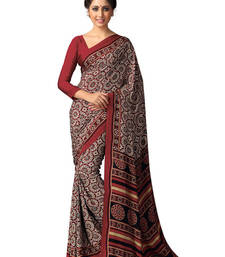 Buy Beige and Brown printed silk saree with blouse silk-saree online