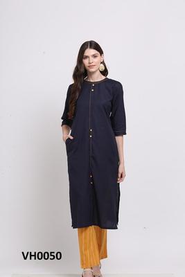 Blue hand woven cotton ethnic-kurtis