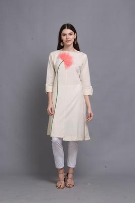 Off-white hand woven cotton ethnic-kurtis