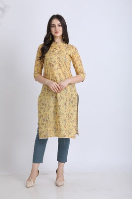 Yellow hand woven cotton ethnic-kurtis