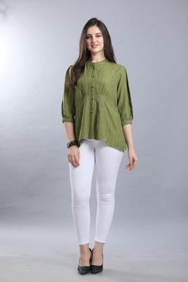 Green hand woven rayon ethnic-kurtis