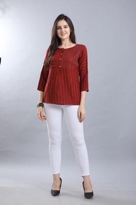 Red hand woven rayon ethnic-kurtis