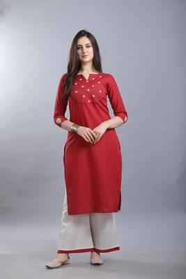 Red hand woven cotton ethnic-kurtis