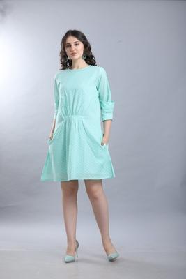 Light-blue hand woven viscose ethnic-kurtis