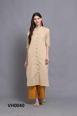 Cream hand woven cotton ethnic-kurtis