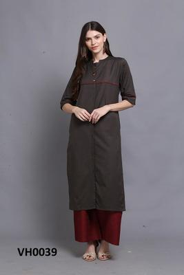 Grey hand woven cotton ethnic-kurtis