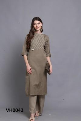 Dark-gold hand woven cotton ethnic-kurtis