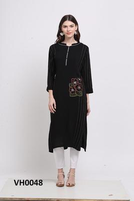 Black hand woven rayon ethnic-kurtis