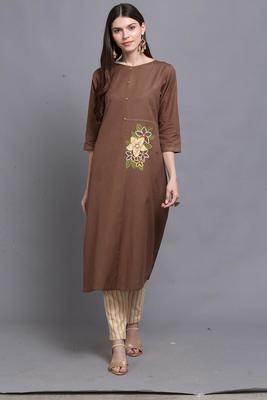 Brown hand woven cotton ethnic-kurtis