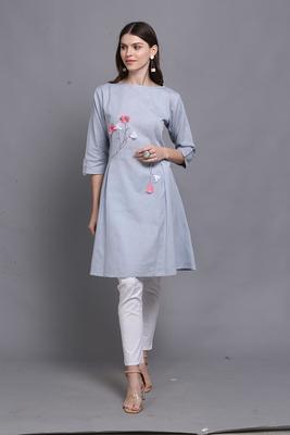 Light-blue hand woven cotton ethnic-kurtis