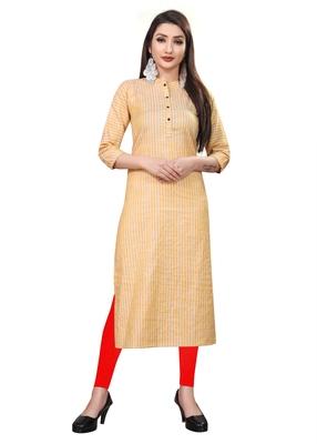 Orange hand woven cotton ethnic-kurtis