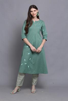 Green hand woven cotton ethnic-kurtis