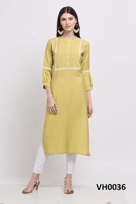 Yellow hand woven viscose ethnic-kurtis