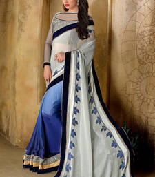 Buy Grey and Blue embroidered satin saree with blouse satin-saree online