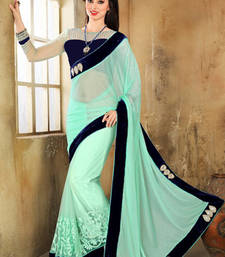 Buy Sea Green embroidered net saree with blouse net-saree online