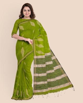Look and Adorn Exclusive Handwoven Cotton Silk Fern Green Blue Gheecha Saree with Blouse piece